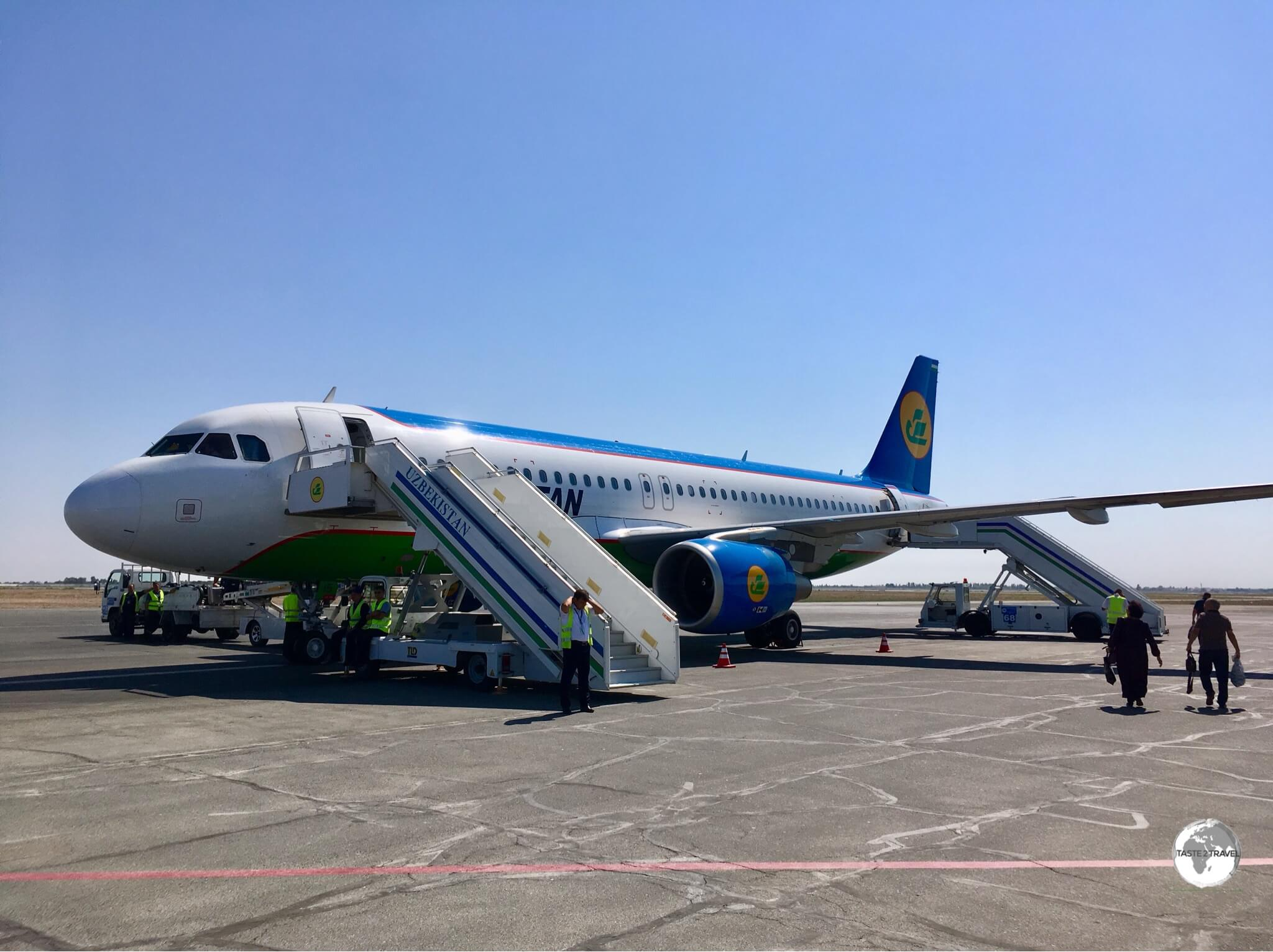 An Uzbekistan Airways flight ready to depart from Urgench airport.