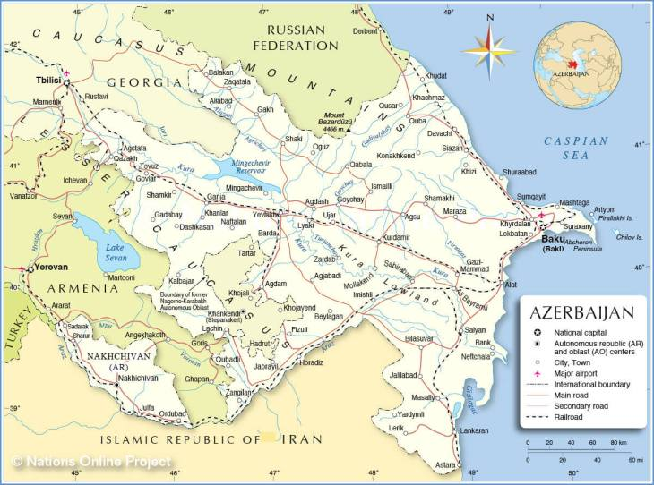 Map of Azerbaijan. Source: https://www.nationsonline.org