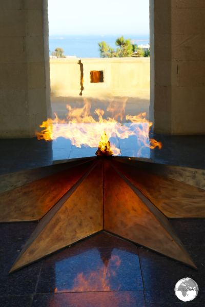 The eternal flame memorial at Highland park.