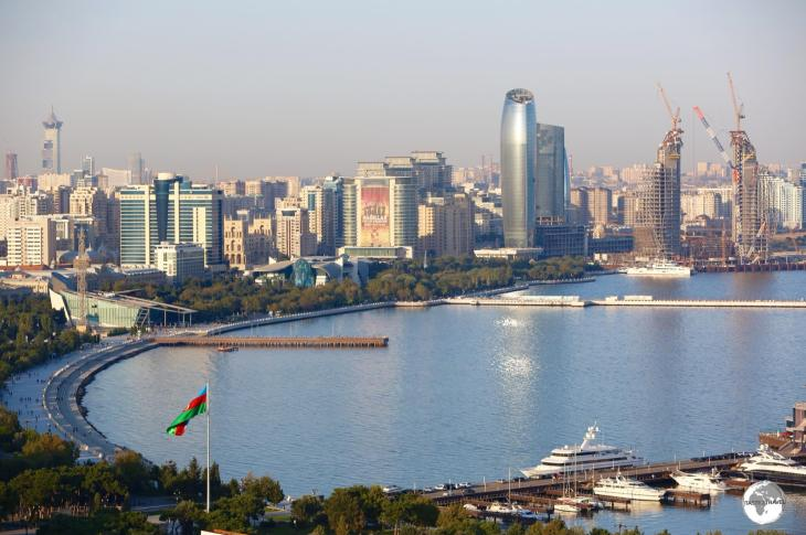 The capital of Azerbaijan, Baku, is situated on the wide Baku Bay.