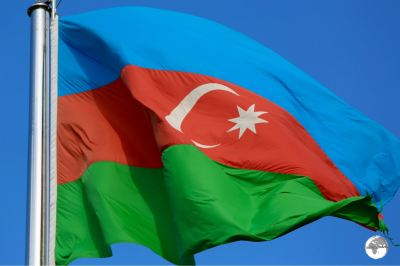 The flag of Azerbaijan.