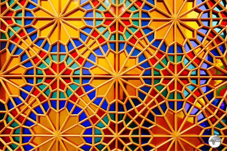 A fine example of the craft of 'Shebeki', a window pane made of coloured glass and wood, all held together without nails or glue.