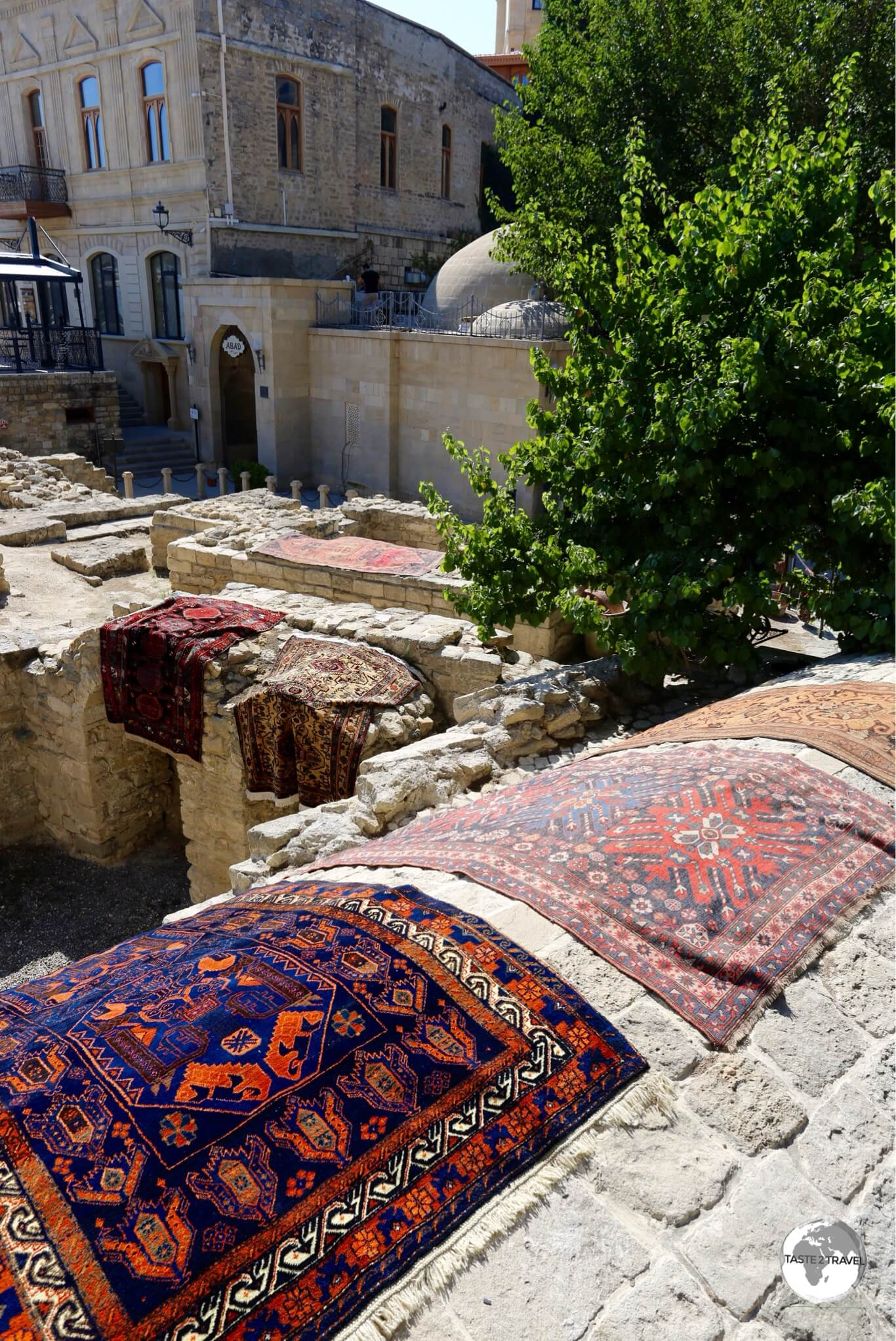 Carpets for sale in the old town of Baku.
