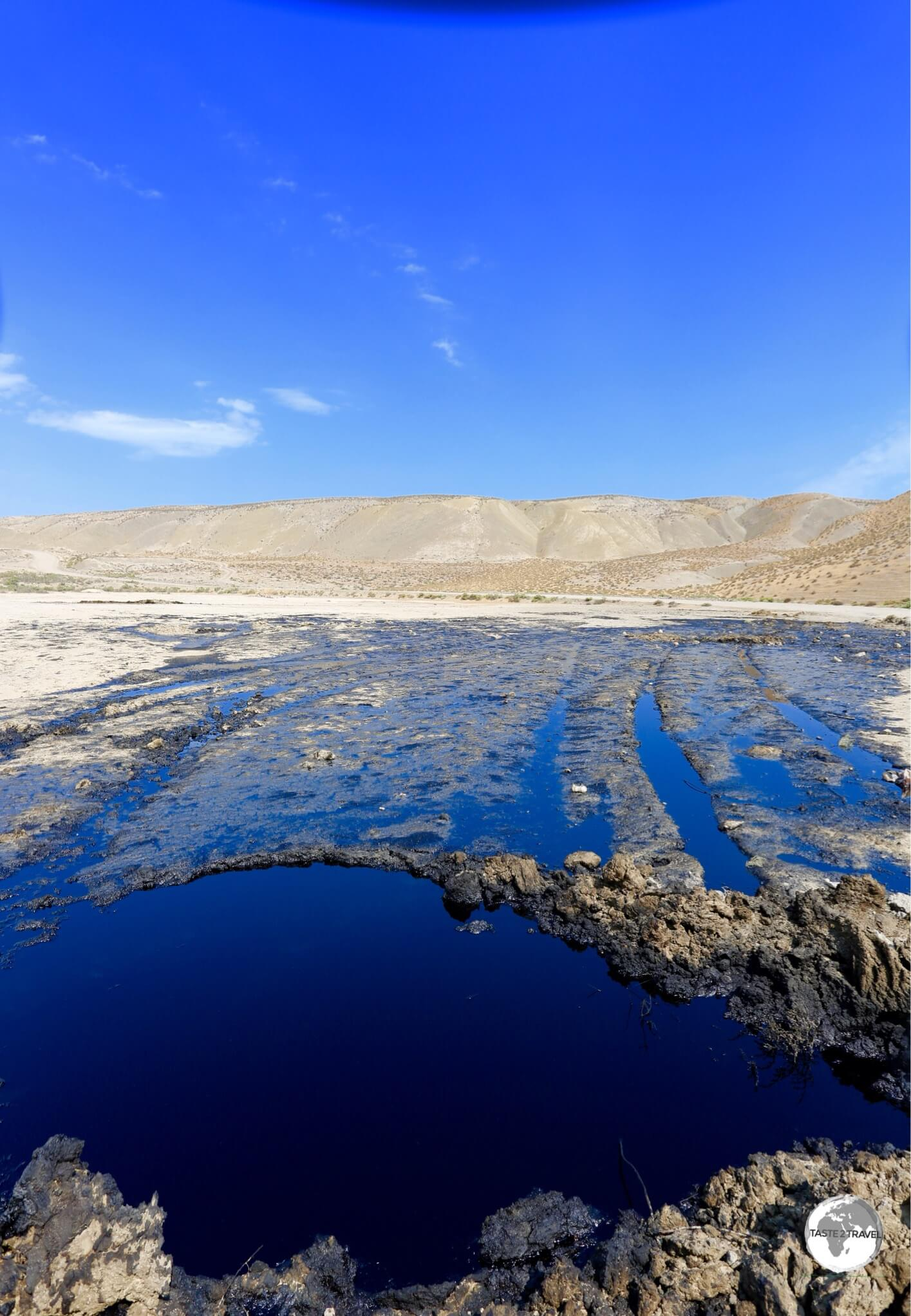 An oil seep near to the mud volcanoes.