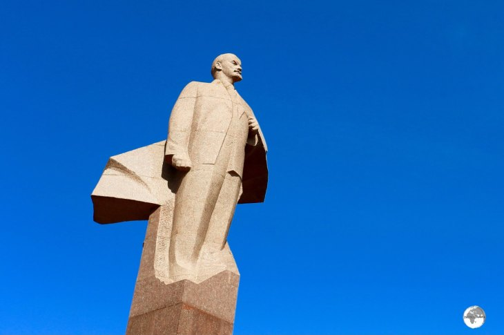 This cloaked statue of Lenin greets all visitors arriving in Tiraspol, capital of Transnistria.