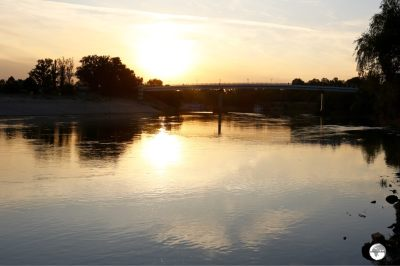 Sunset on the Dniester River in Tiraspol.