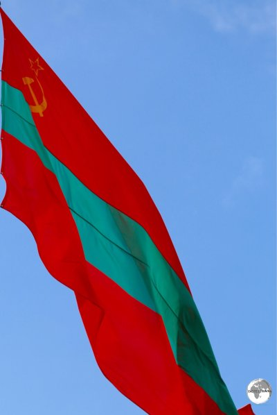 The reverse side of the flag of Transnistria.