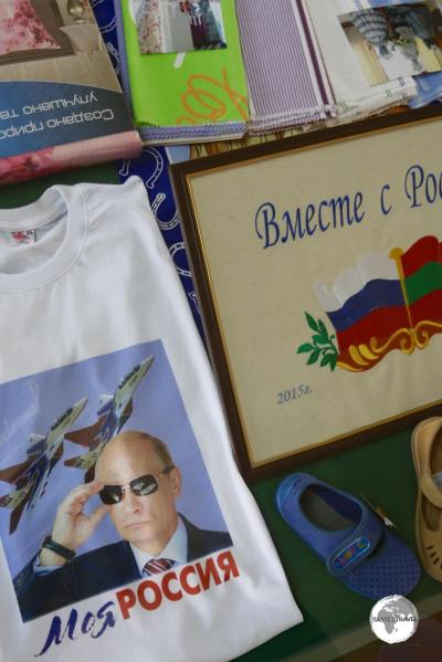 A display at the Tiraspol National History Museum shows appreciation for Russia and, a very cool looking Putin.