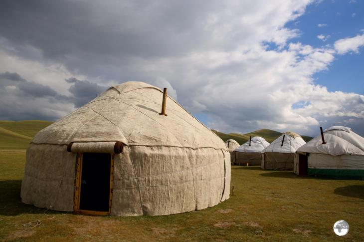 Kyrgyz yurts, such as these on Lake Son-Kul, are always wrapped in large sheets of water-proof, and insulating, felt.