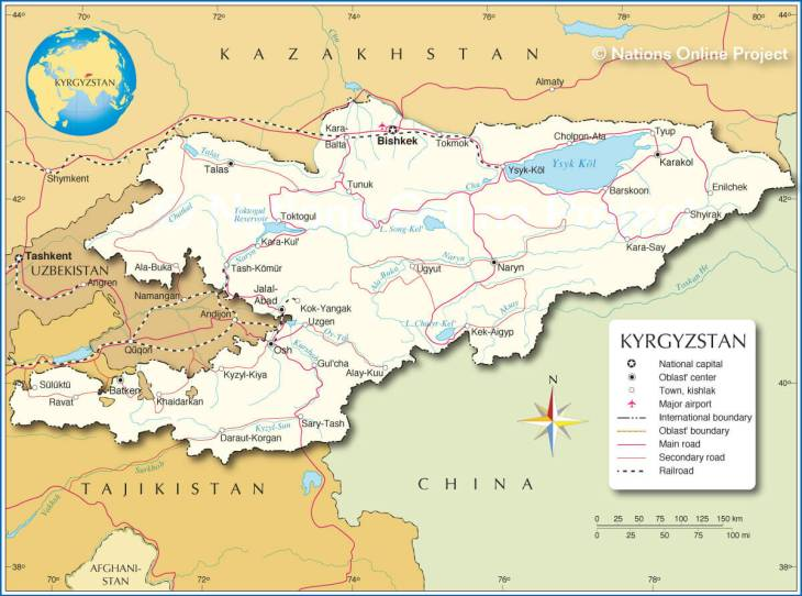 A political map of Kyrgyzstan. <br><i>Source: nationsonline.org</br></i>