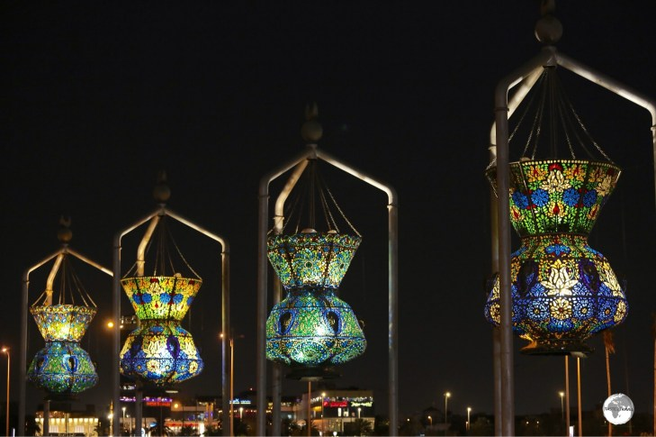 Jeddah is full of large public artworks with the Mameluke Mosque Lanterns being one of the most striking and beautiful.