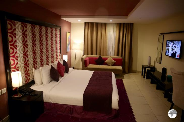 My very spacious room at the Swiss Spirit Hotels & Suites in Taif.