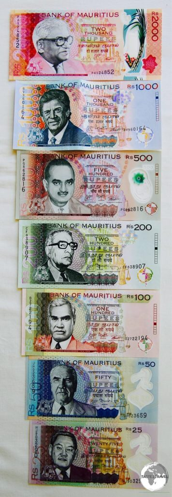 The complete set of Mauritian Rupee notes.