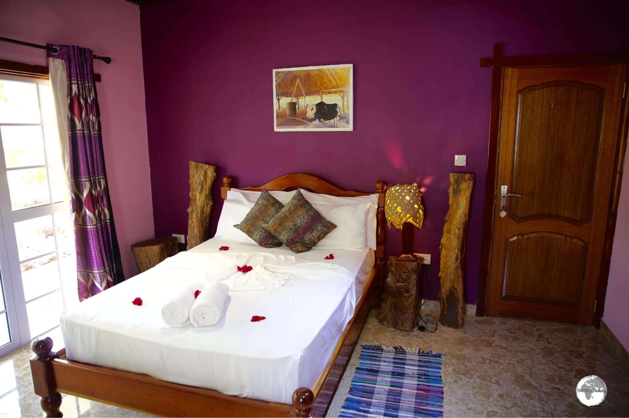 My colourful room at Elje Villa on the island of La Digue.