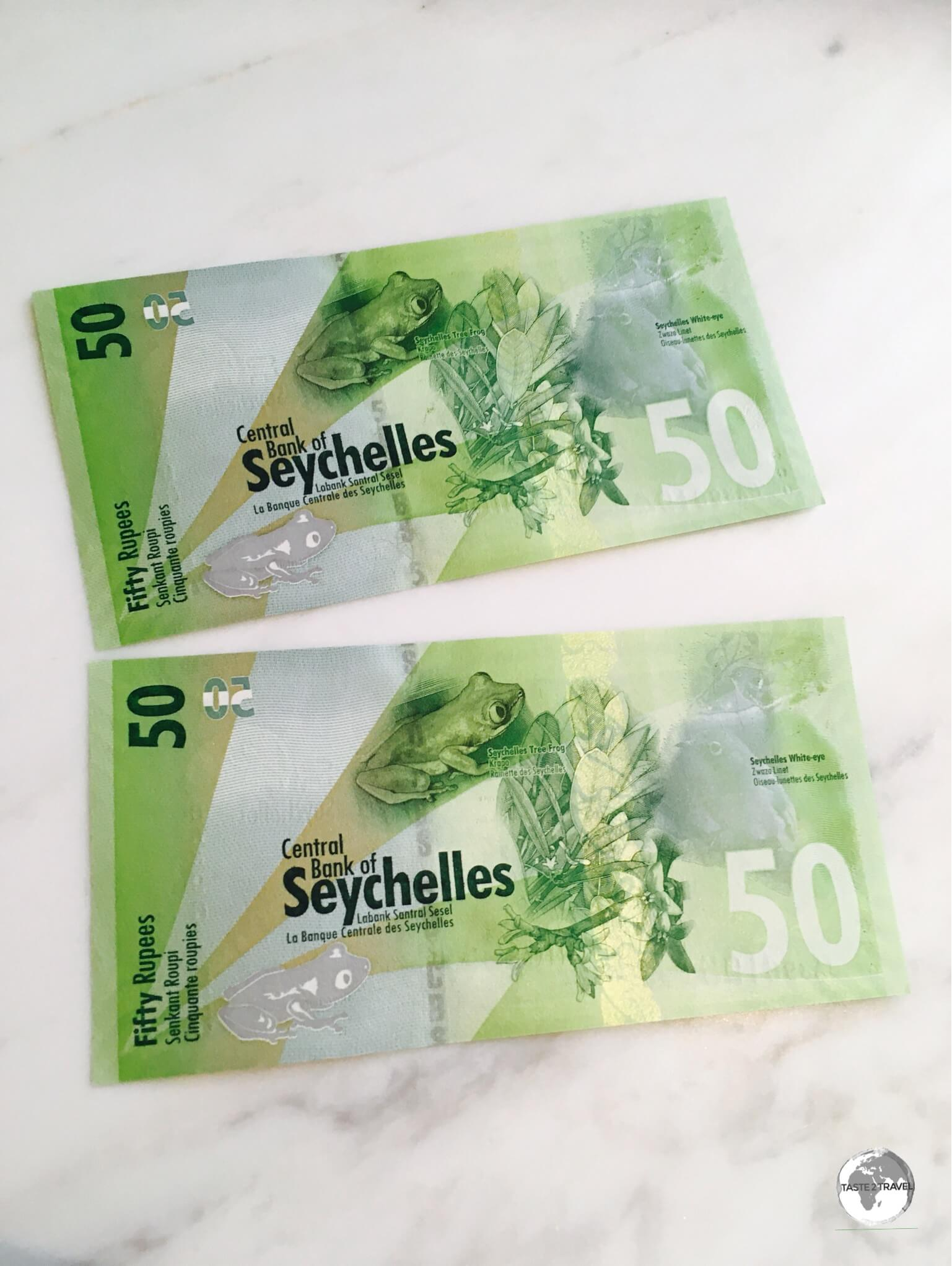 The back of the Seychelles 50 rupee note features the Seychelles Tree Frog.