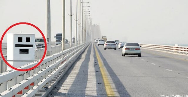 A more obvious speed camera, on the highway in Saudi Arabia.