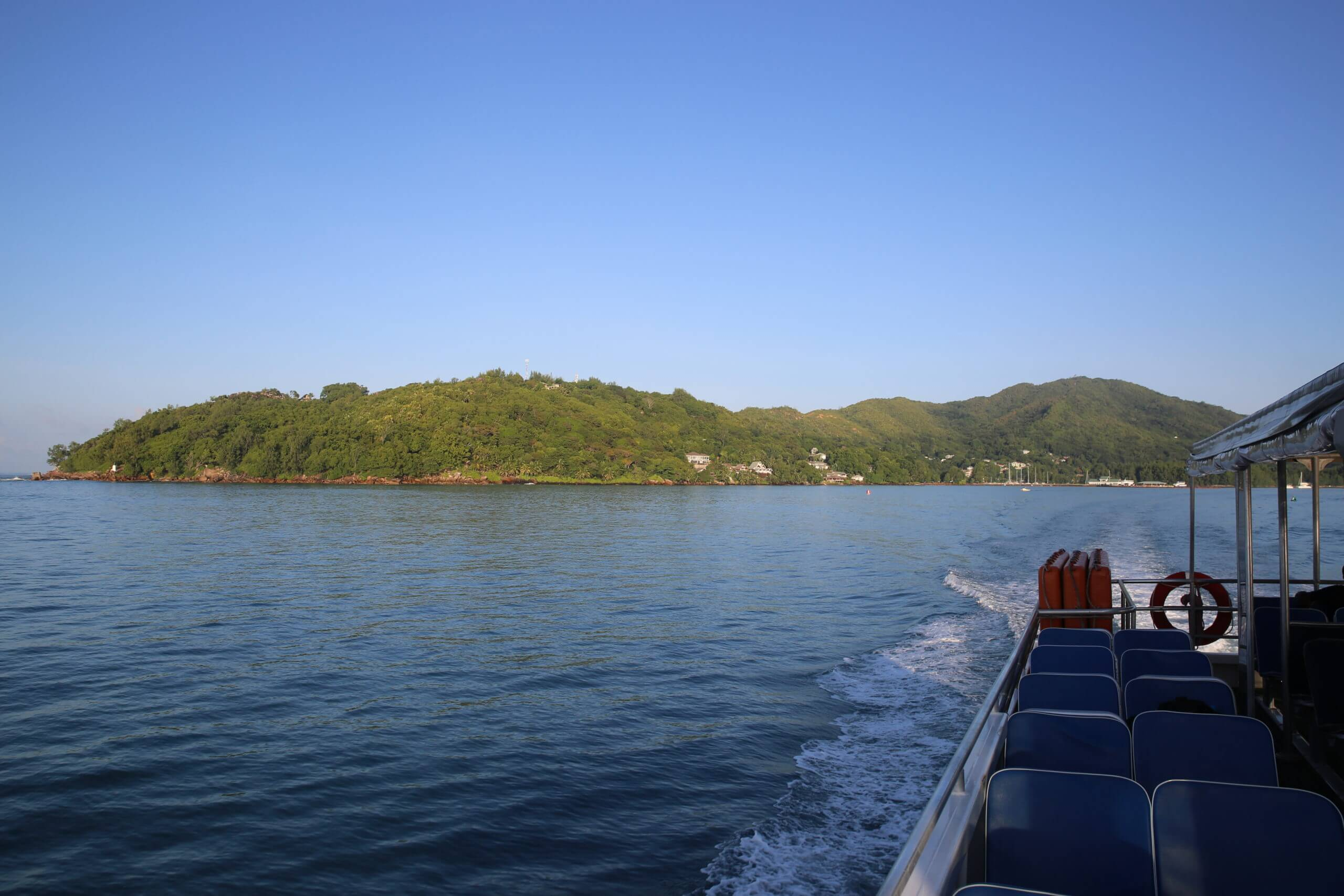 Departing Praslin island for La Digue, aboard the Cat Cocos ferry.