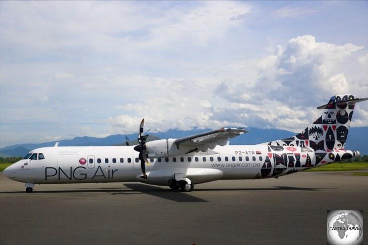 A PNG Air ATR-72 aircraft at Lae airport.