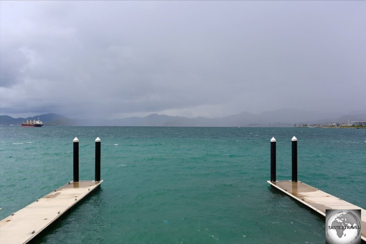 Storm clouds over Port Moresby harbour.