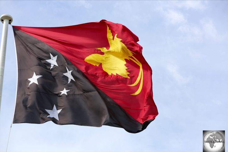 The flag of Papua New Guinea.