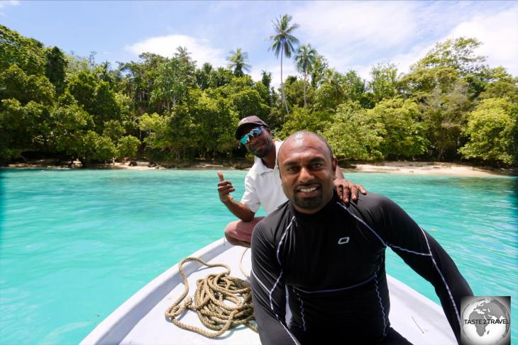 The wonderful dive team from Niugini Dive Adventures – my dive buddy/ instructor, Nathan, in the foreground, and Nigel, the boat captain, at Pig Island.