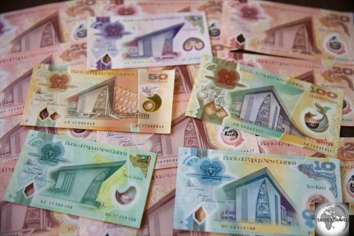 PNG Kina Bank Notes.