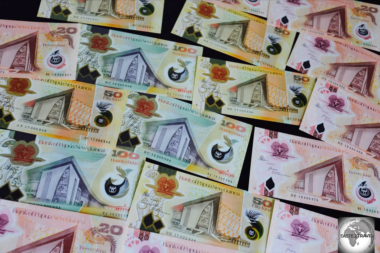 The polymer banknotes of Papua New Guinea are printed in Australia with the colours of the PNG notes roughly matching the colours of the corresponding Australian notes.