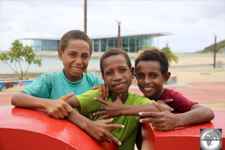 Boys on Ela beach who, like most Papuans, were happy posing for the camera.