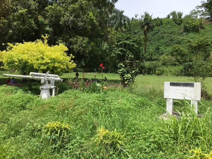 Overgrown and forlorn, the Amelia Earhart memorial in Lae.