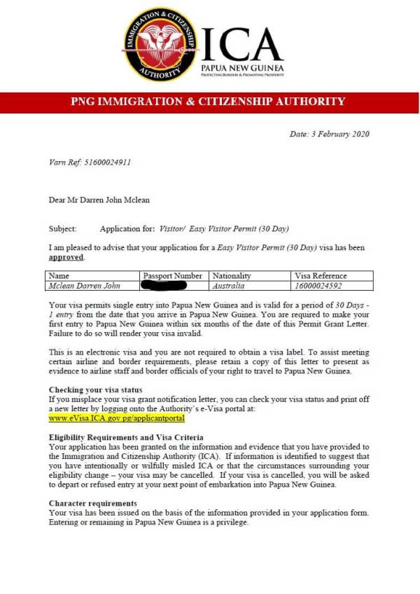 My Visa Approval letter which entitled me to enter PNG for 30 days.