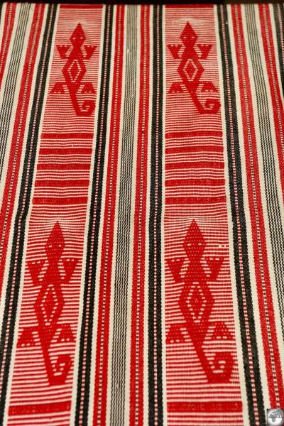 A piece of Tais cloth featuring a Salt-water crocodile, which are common in the waters surrounding Timor.
