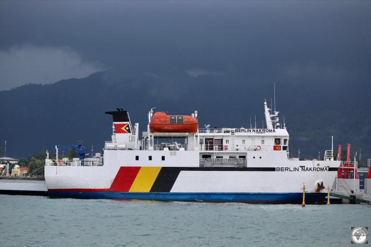 Storm clouds looming over the Berlin Nakroma ferry in Dili harbour.