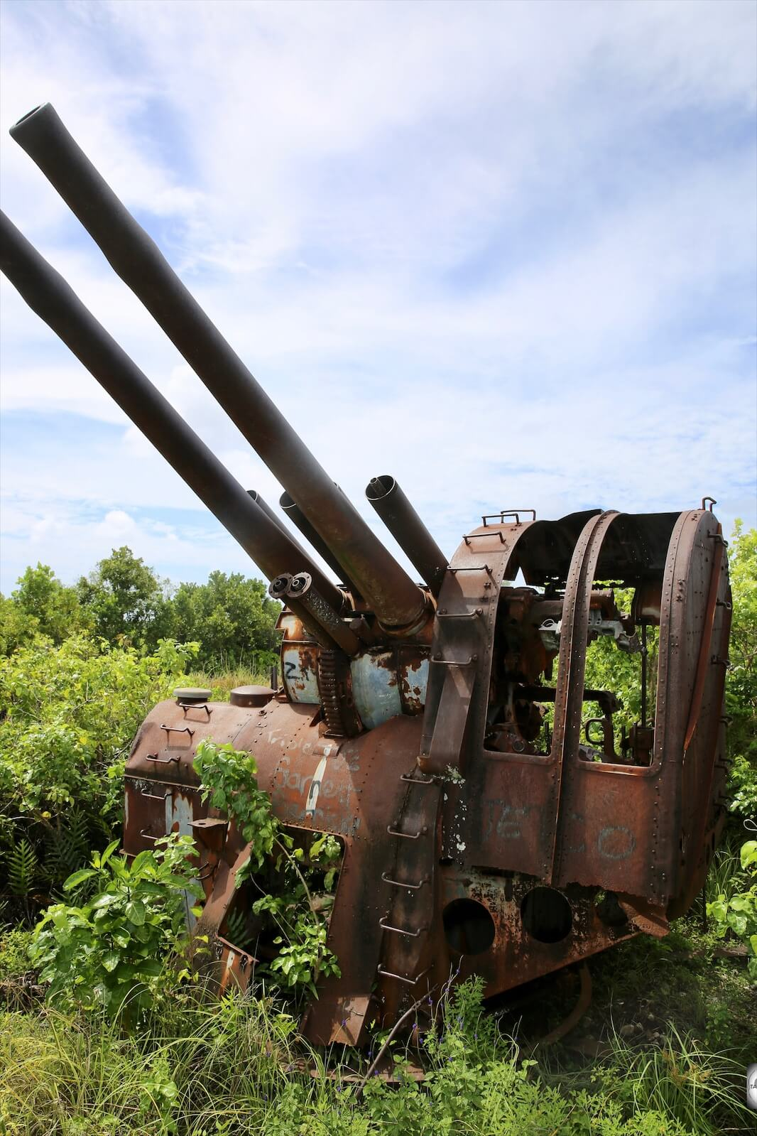 Japanese WWII-era, double-barrelled anti-aircraft gun on Command Ridge.