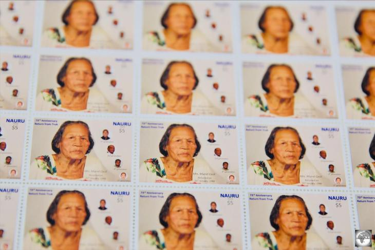 A stamp to commemorate the 73rd anniversary of the return of Nauruans from Truk (Chuuk), after the end of WWII. The stamp depicts Muriel Cecil who is currently the oldest living Nauruan.