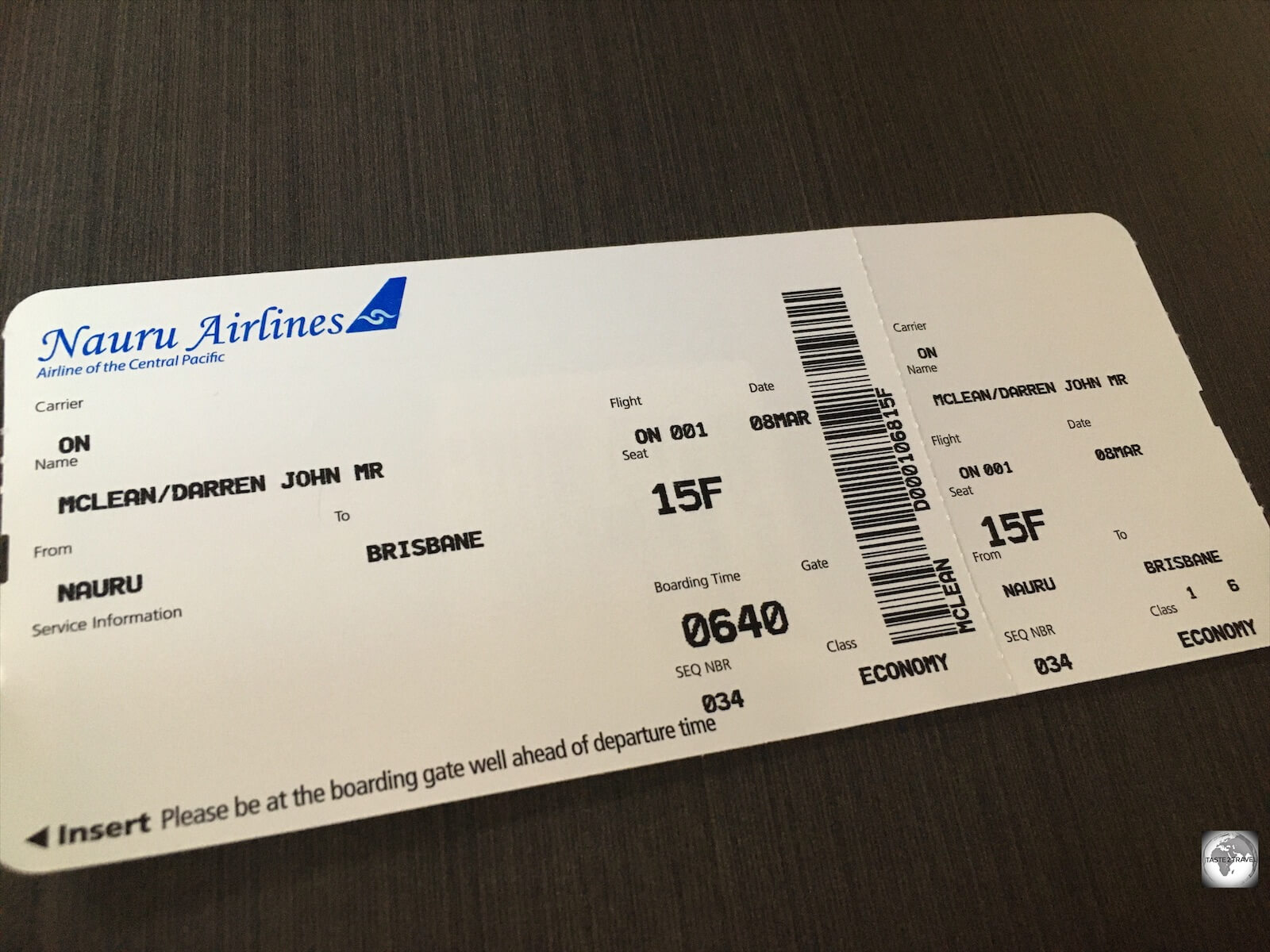 My boarding pass for my flight from Brisbane to Nauru.
