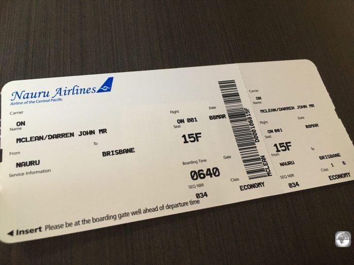 My boarding pass for my flight from Brisbane to Nauru.