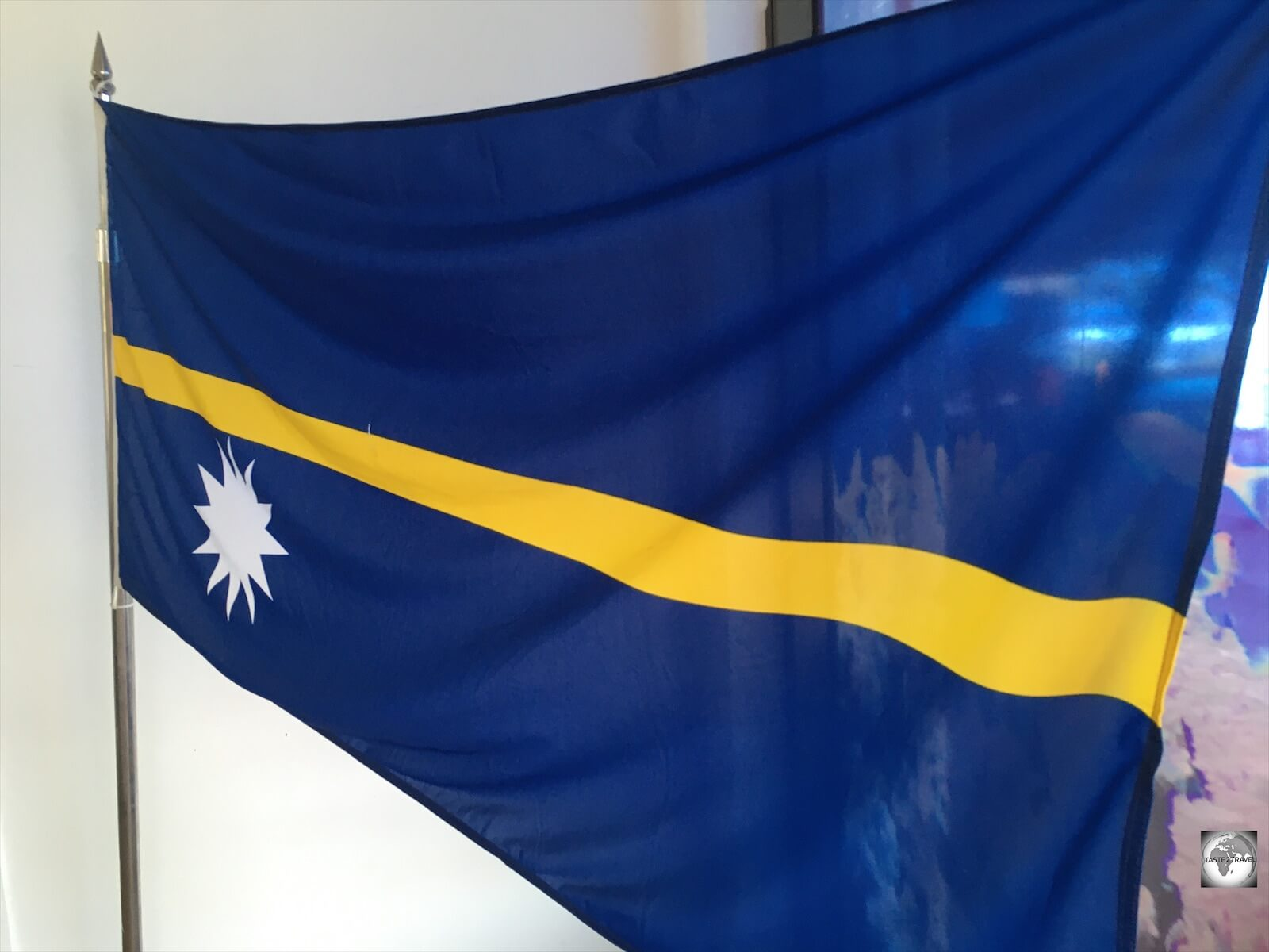 A flag of Nauru which is displayed in the lobby of the Menen hotel.