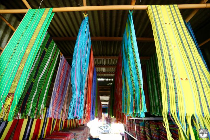 Colourful hand-woven Tais cloth for sale at the Tais Market in Dili.
