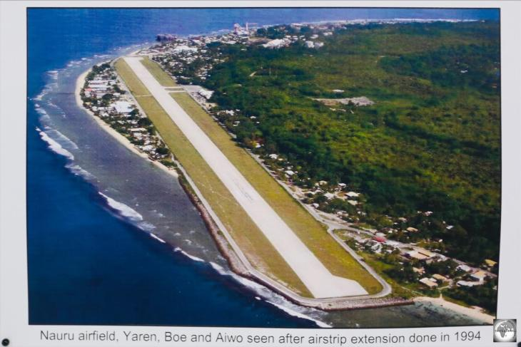 An aerial photo at the Nauru Museum, clearly shows the runway extension which protrudes out over the coral reef.