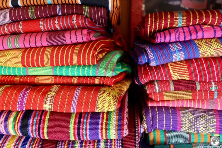Colourful Tais cloth at the Tais market in Dili.