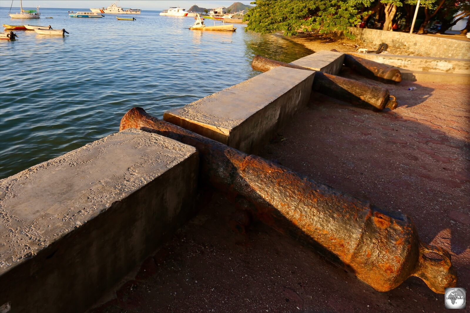 Portuguese cannons line the waterfront in Dili.