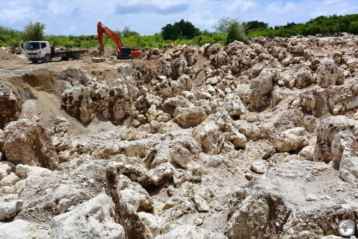 A view of discarded limestone rock at a mine on Topside. Large areas of the interior of Nauru feature such wastelands.