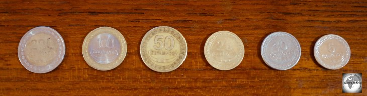 An almost complete set of Centavo coins.
