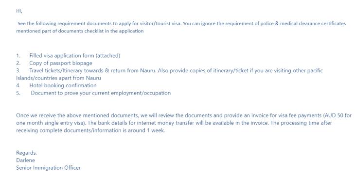 Nauru Visa Application Requirements.