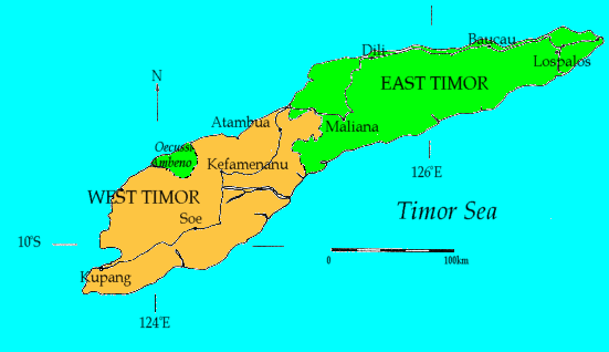 A political map of Timor showing the Indonesian province of West Timor, East Timor and the exclave of Oecusse. Source: Wikipedia.