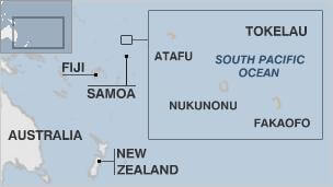 A map showing the remote location of Tokelau. Source: BBC