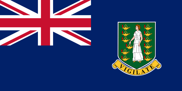 The flag of the British Virgin Islands which features Saint Ursula.