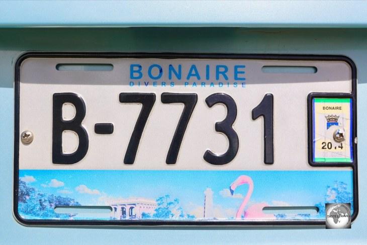 The Bonaire license plate - 'Divers Paradise'.