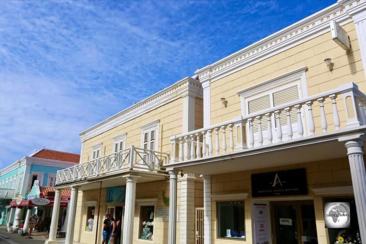 Dutch-style buildings in downtown Kralendijk, the capital of Bonaire.