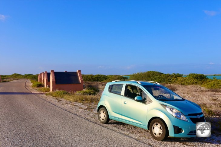 Visiting the Slave Huts in my rental car.